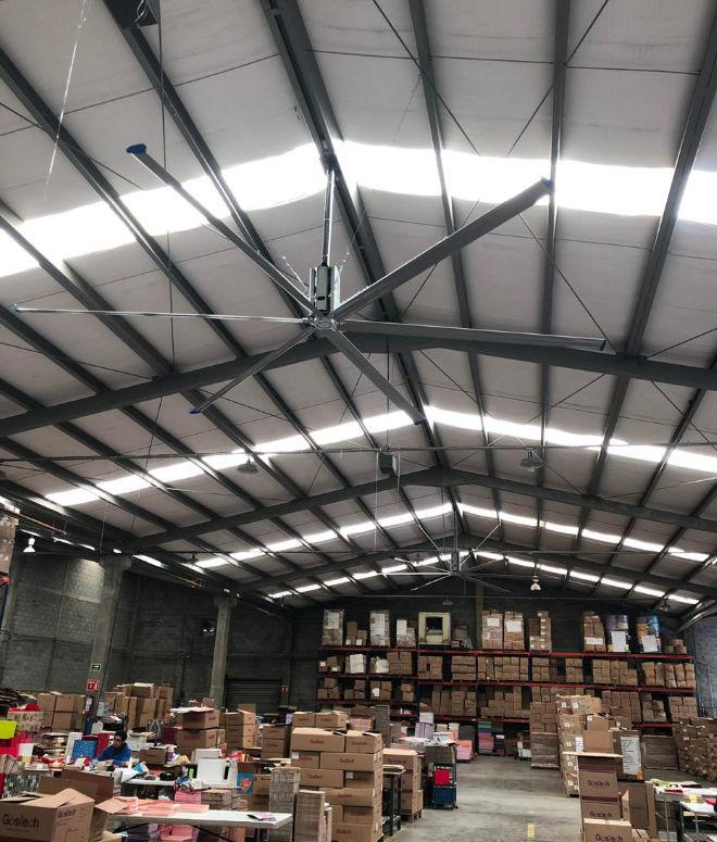 Industrial HVLS fan in warehouse